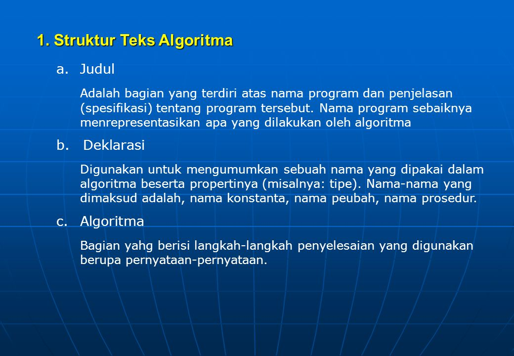 5. Jenis Pemograman 1.Pemograman prosedural pemograman yang dibuat berdasarkan langkah-langkah prosedural (menggunakan pola algoritma) 2.Pemograman be