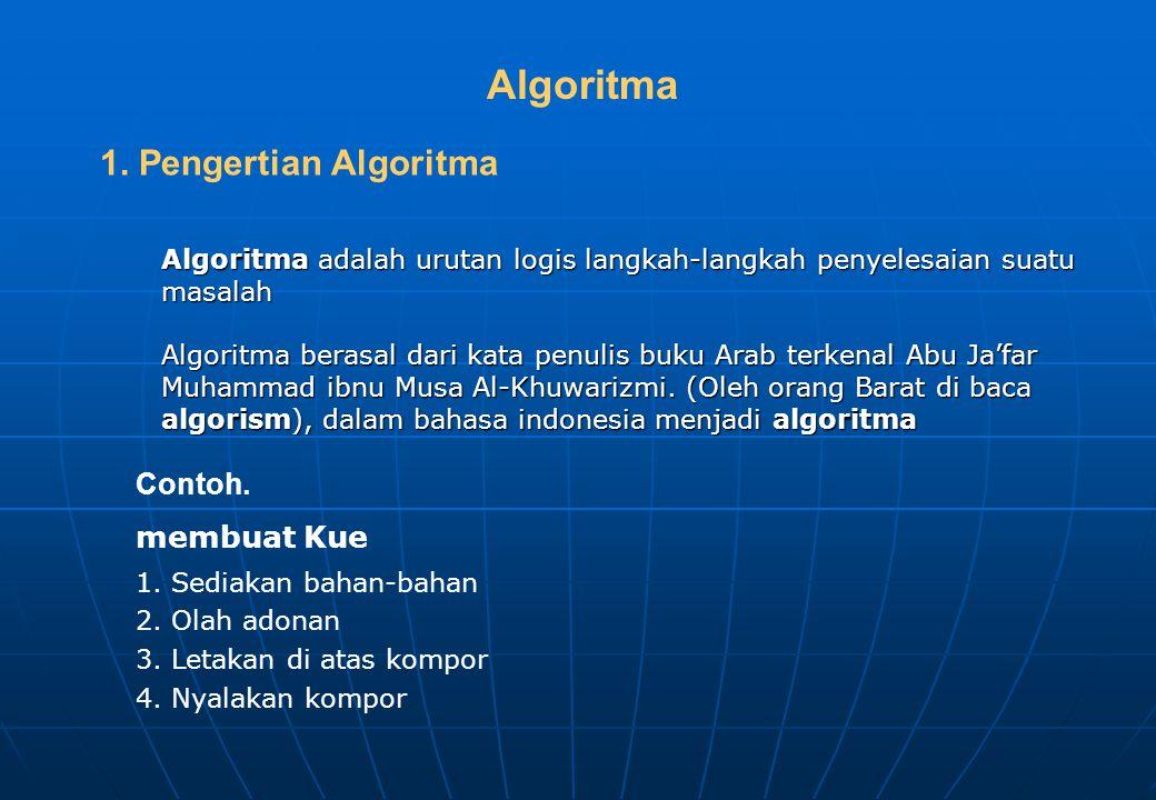 Algoritma adalah urutan logis langkah-langkah penyelesaian suatu masalah Algoritma berasal dari kata penulis buku Arab terkenal Abu Ja'far Muhammad ibnu Musa Al-Khuwarizmi.