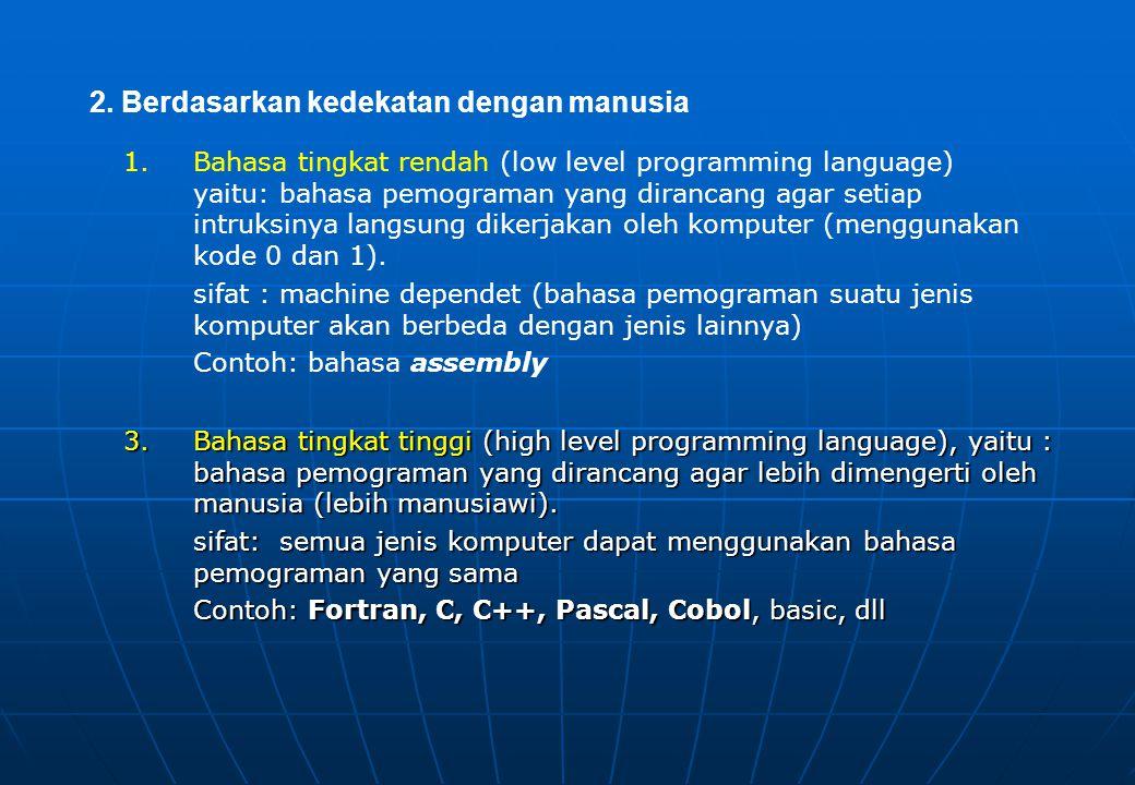 1.Bahasa tingkat rendah (low level programming language) yaitu: bahasa pemograman yang dirancang agar setiap intruksinya langsung dikerjakan oleh komputer (menggunakan kode 0 dan 1).