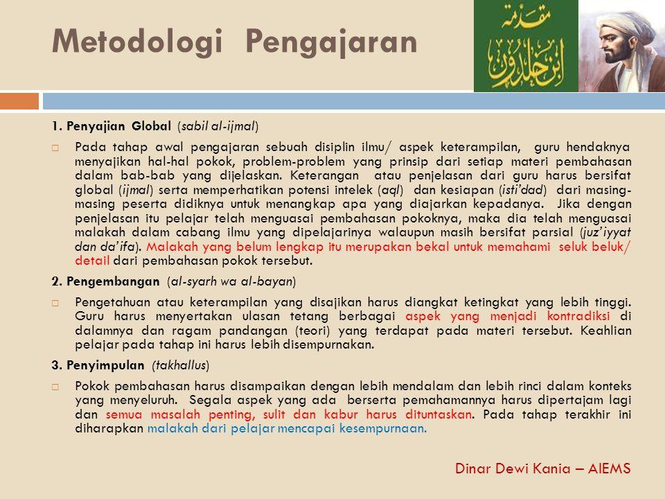 Metodologi Pengajaran 1. Penyajian Global (sabil al-ijmal)  Pada tahap awal pengajaran sebuah disiplin ilmu/ aspek keterampilan, guru hendaknya menya