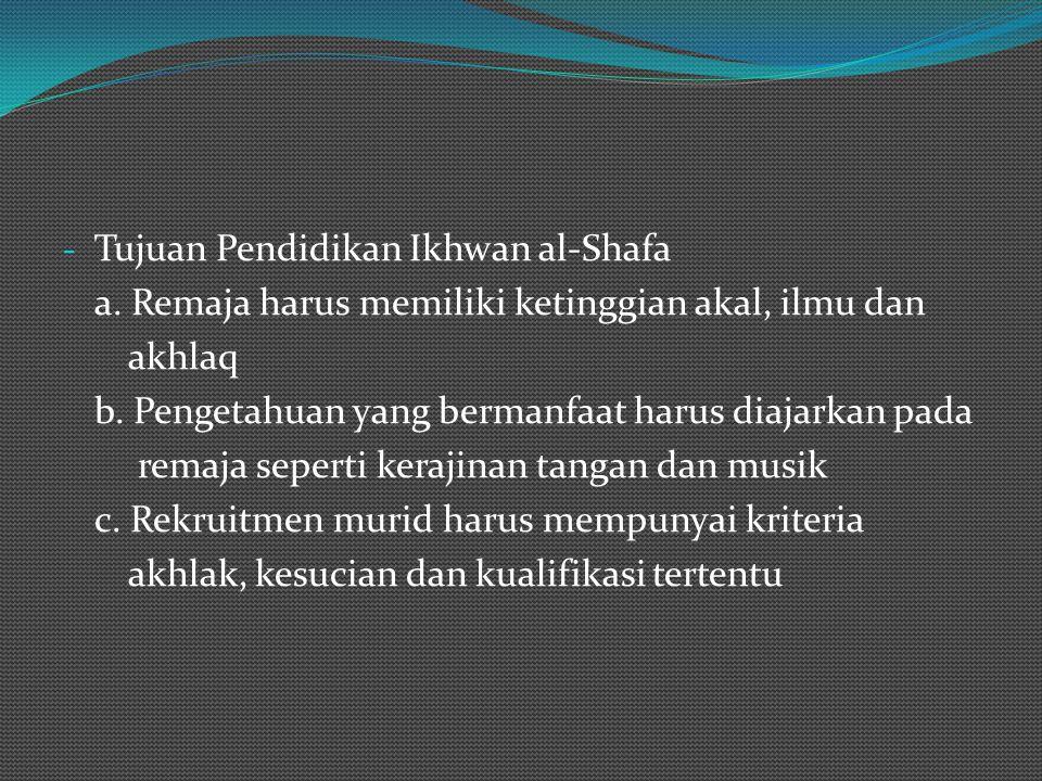 TEORI PENDIDIKAN IKHWAN AL-SHAFA - Konsep pendidikan dan pengajaran anak dan remaja a. 4 tahun pertama melalui indera (khawas) dan instink (gharaizah)
