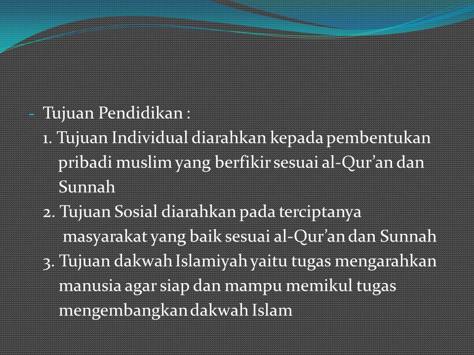 KONSEP PENDIDIKAN IBNU TAIMIYAH - TEORI PENDIDIKAN a. Tauhid merupakan asas pendidikan terdiri dari : tauhid rububiyah, uluhiyah dan tauhid asma wa sh