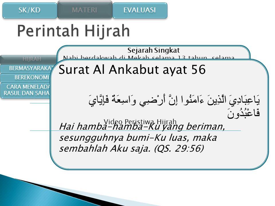 SK/KD SK/KD MATERI EVALUASI Nabi Muhammad Membangun Masyarakat madinah Menata Kehidupan Bermasyarakat Menata Kehidupan Bermasyarakat Menata Kegiatan E