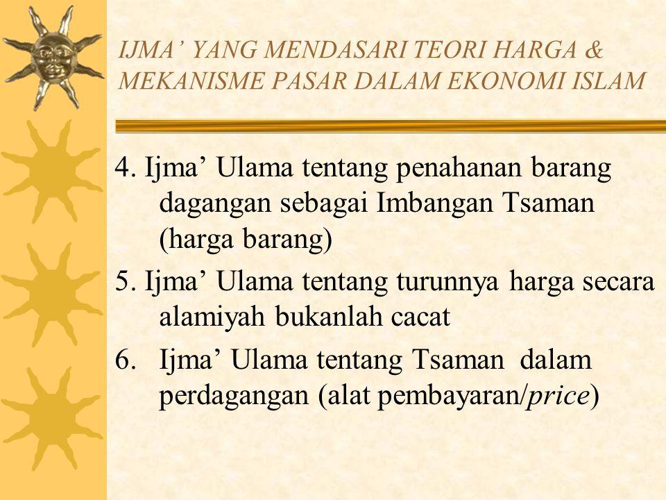 IJMA' YANG MENDASARI TEORI HARGA & MEKANISME PASAR DALAM EKONOMI ISLAM 4. Ijma' Ulama tentang penahanan barang dagangan sebagai Imbangan Tsaman (harga