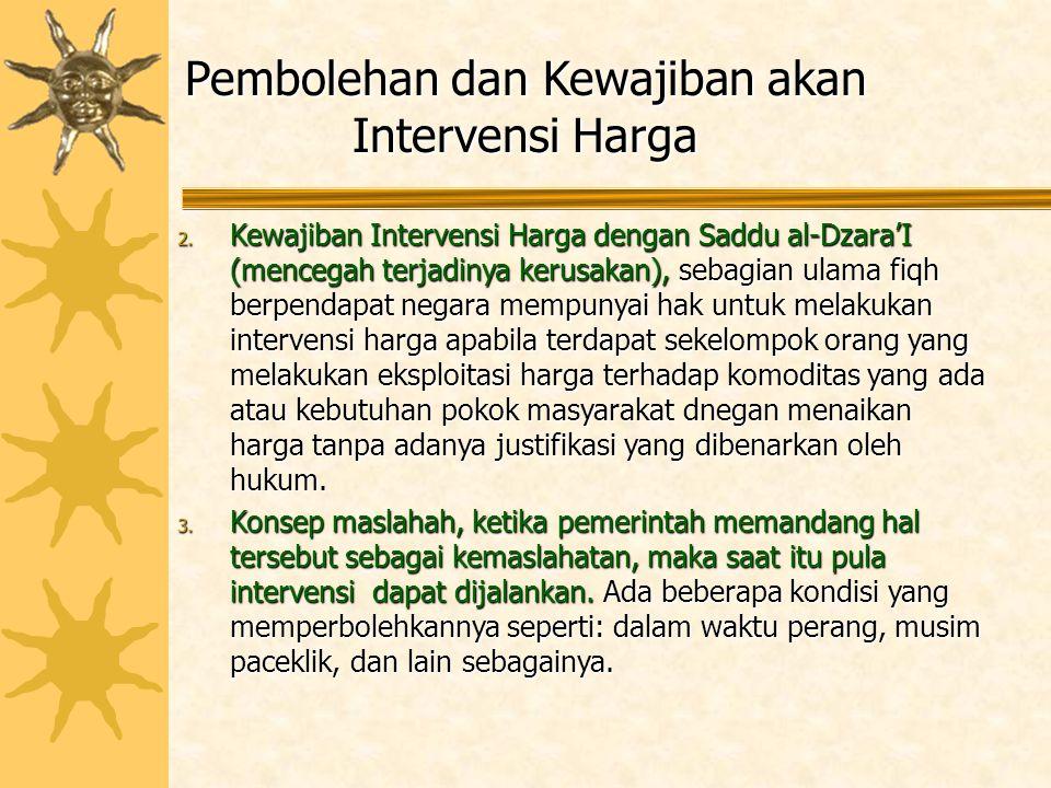 Pembolehan dan Kewajiban akan Intervensi Harga 2. Kewajiban Intervensi Harga dengan Saddu al-Dzara'I (mencegah terjadinya kerusakan), sebagian ulama f