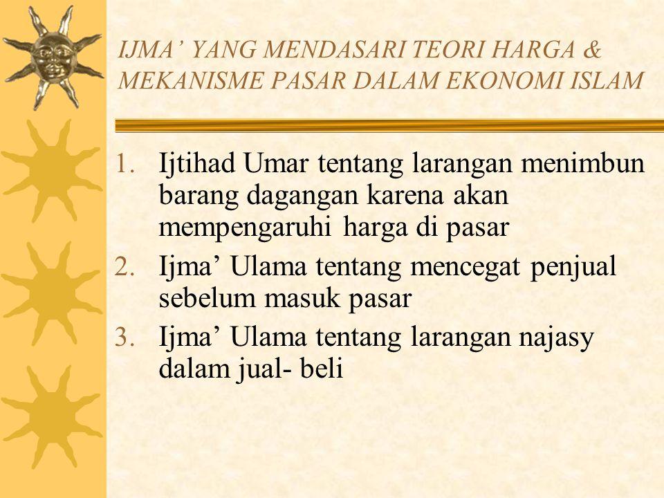 IJMA' YANG MENDASARI TEORI HARGA & MEKANISME PASAR DALAM EKONOMI ISLAM 4.