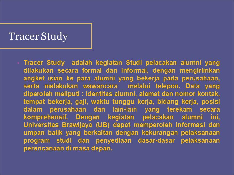 Tracer Study adalah kegiatan Studi pelacakan alumni yang dilakukan secara formal dan informal, dengan mengirimkan angket isian ke para alumni yang bek
