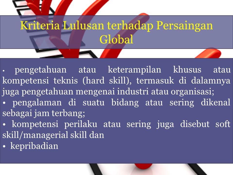Kriteria Lulusan terhadap Persaingan Global pengetahuan atau keterampilan khusus atau kompetensi teknis (hard skill), termasuk di dalamnya juga penget