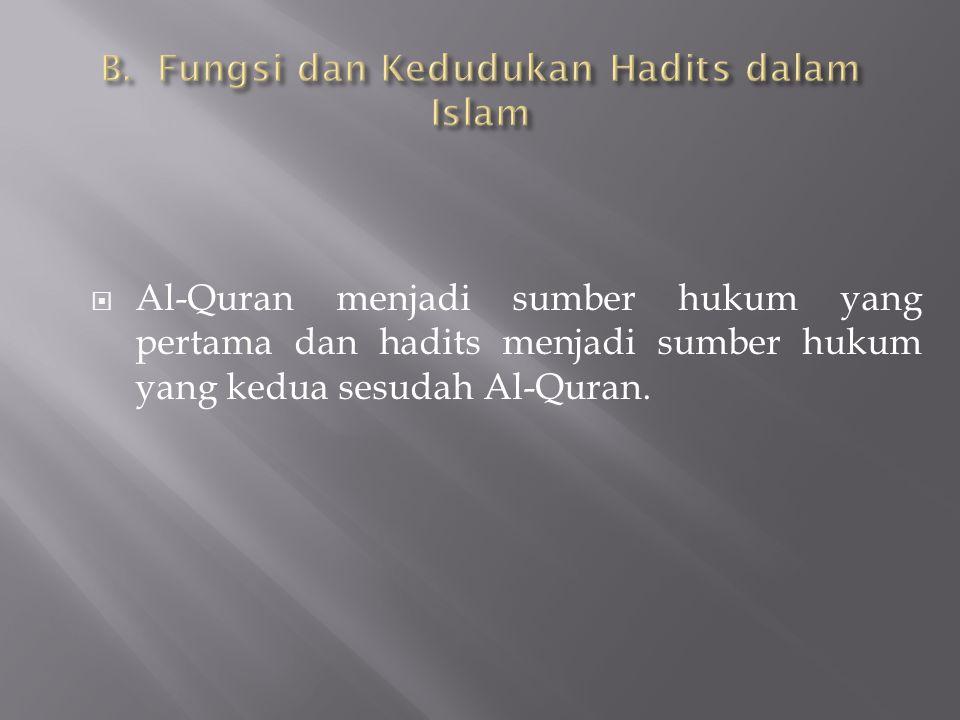  Al-Quran menjadi sumber hukum yang pertama dan hadits menjadi sumber hukum yang kedua sesudah Al-Quran.