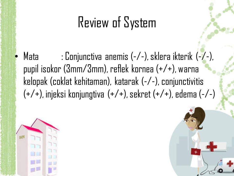 Review of System Mata: Conjunctiva anemis (-/-), sklera ikterik (-/-), pupil isokor (3mm/3mm), reflek kornea (+/+), warna kelopak (coklat kehitaman),