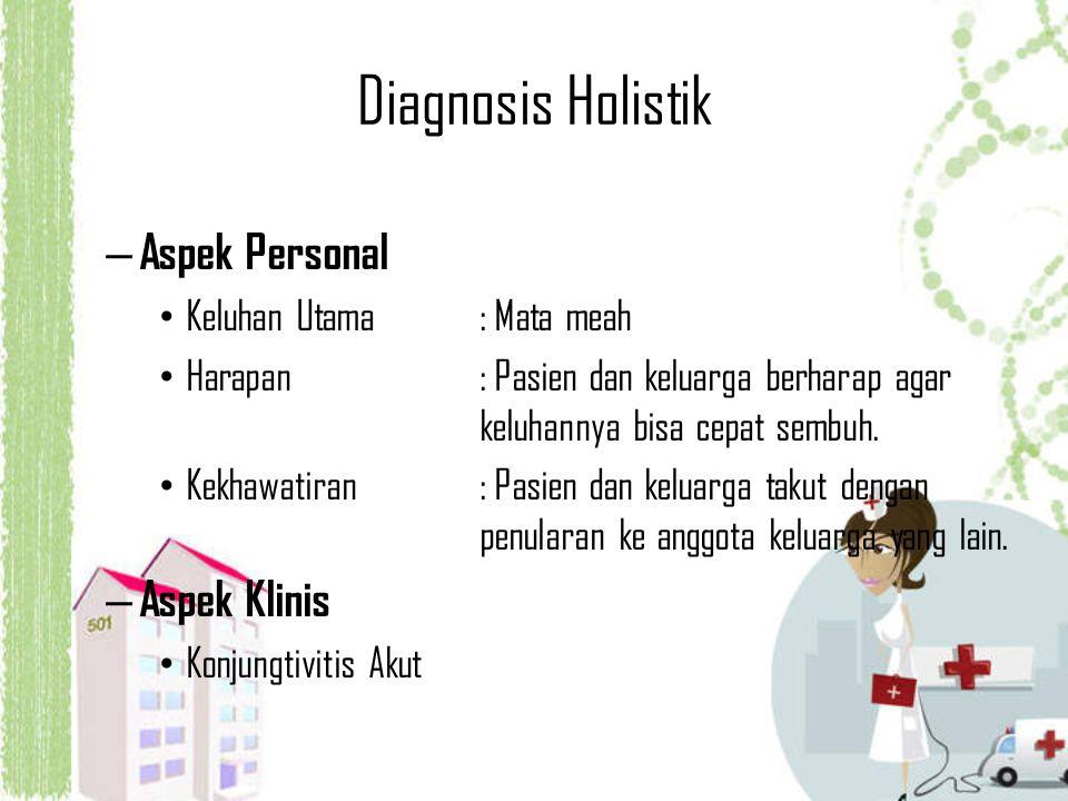 Diagnosis Holistik – Aspek Personal Keluhan Utama: Mata meah Harapan: Pasien dan keluarga berharap agar keluhannya bisa cepat sembuh. Kekhawatiran: Pa