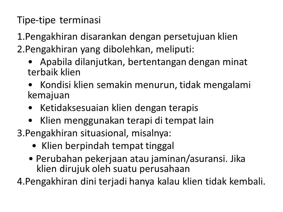 Tipe-tipe terminasi 1.Pengakhiran disarankan dengan persetujuan klien 2.Pengakhiran yang dibolehkan, meliputi: Apabila dilanjutkan, bertentangan denga