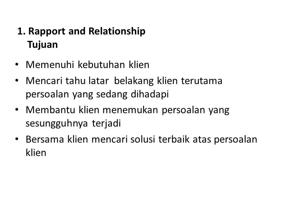 1. Rapport and Relationship Tujuan Memenuhi kebutuhan klien Mencari tahu latar belakang klien terutama persoalan yang sedang dihadapi Membantu klien m