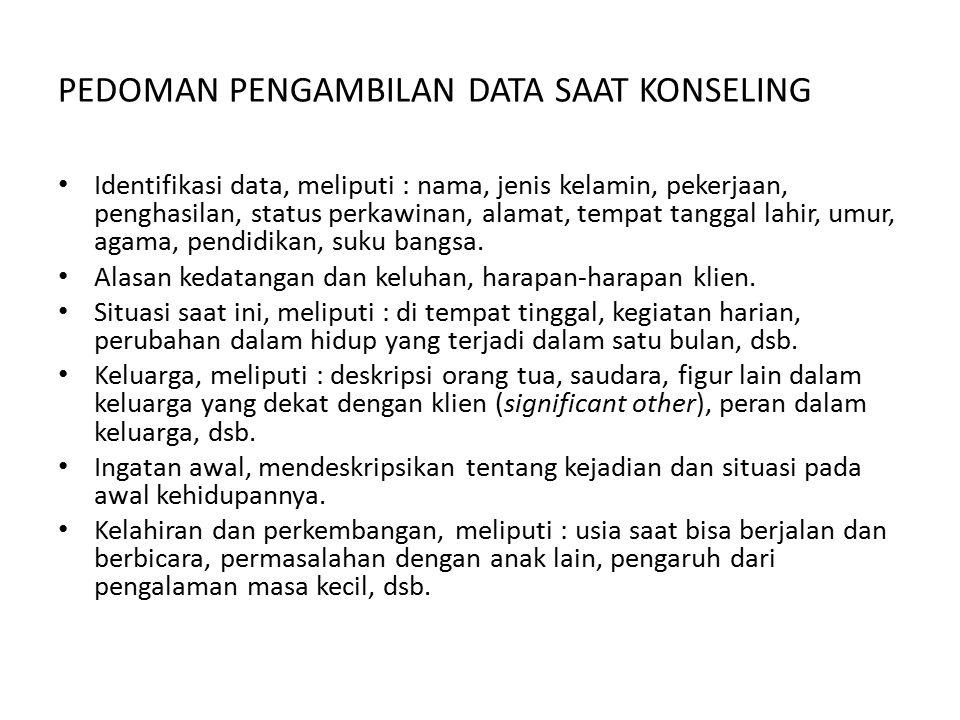 PEDOMAN PENGAMBILAN DATA SAAT KONSELING Identifikasi data, meliputi : nama, jenis kelamin, pekerjaan, penghasilan, status perkawinan, alamat, tempat t