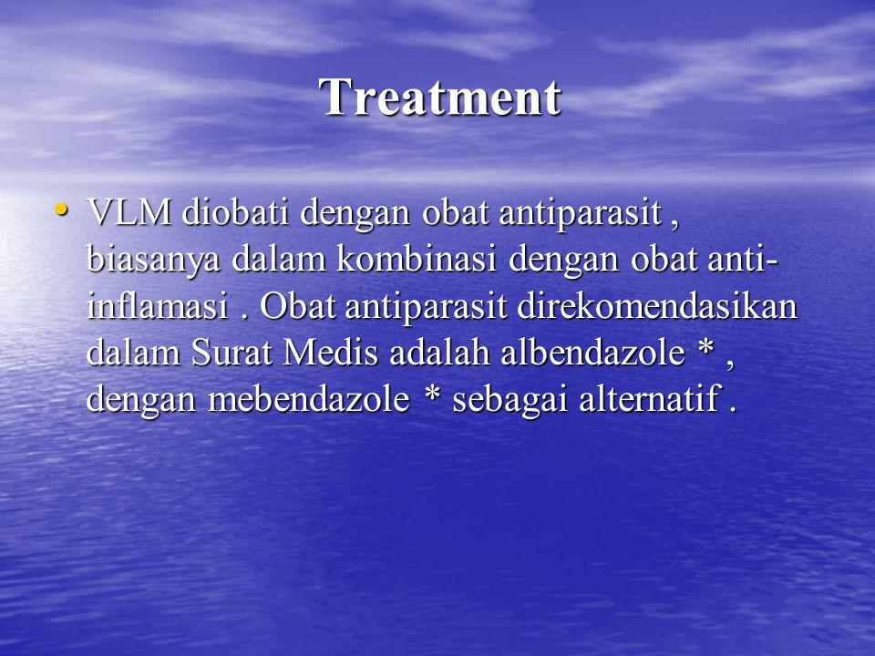 Treatment VLM diobati dengan obat antiparasit, biasanya dalam kombinasi dengan obat anti- inflamasi. Obat antiparasit direkomendasikan dalam Surat Med