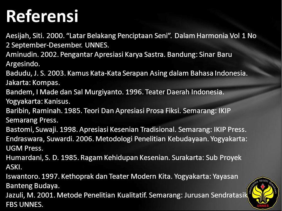 Referensi Aesijah, Siti. 2000. Latar Belakang Penciptaan Seni .