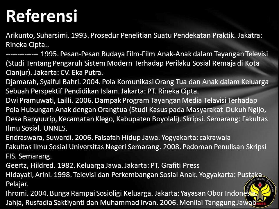 Referensi Arikunto, Suharsimi. 1993. Prosedur Penelitian Suatu Pendekatan Praktik. Jakatra: Rineka Cipta.. -------------- 1995. Pesan-Pesan Budaya Fil