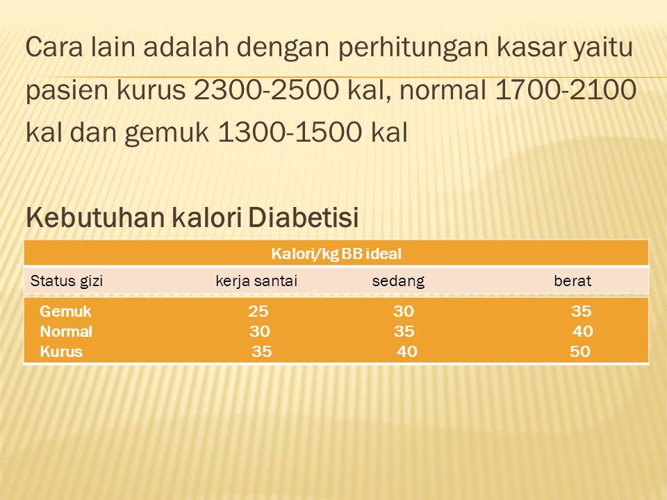Cara lain adalah dengan perhitungan kasar yaitu pasien kurus 2300-2500 kal, normal 1700-2100 kal dan gemuk 1300-1500 kal Kebutuhan kalori Diabetisi Kalori/kg BB ideal Status gizi kerja santai sedang berat Gemuk 25 30 35 Normal 30 35 40 Kurus 35 40 50