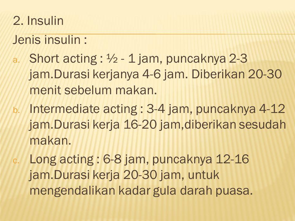 2.Insulin Jenis insulin : a. Short acting : ½ - 1 jam, puncaknya 2-3 jam.Durasi kerjanya 4-6 jam.