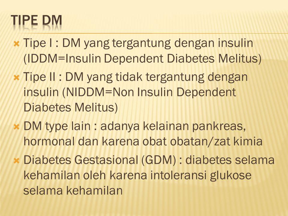  Tipe I : DM yang tergantung dengan insulin (IDDM=Insulin Dependent Diabetes Melitus)  Tipe II : DM yang tidak tergantung dengan insulin (NIDDM=Non Insulin Dependent Diabetes Melitus)  DM type lain : adanya kelainan pankreas, hormonal dan karena obat obatan/zat kimia  Diabetes Gestasional (GDM) : diabetes selama kehamilan oleh karena intoleransi glukose selama kehamilan