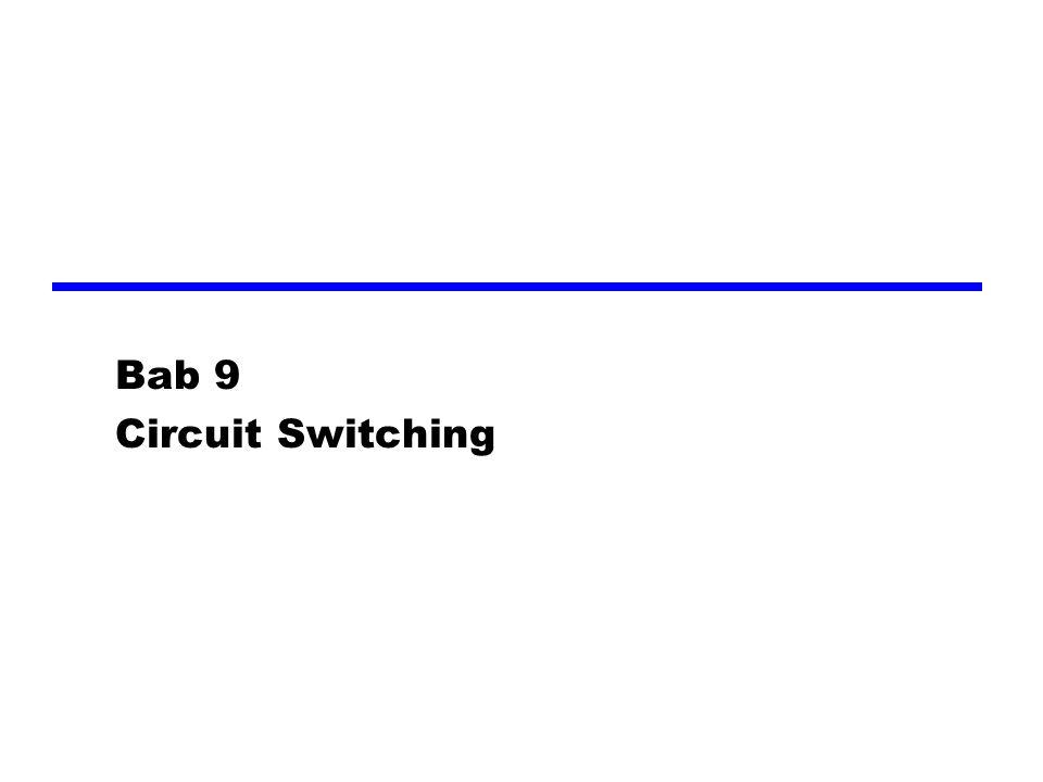 Space Division Switching zDikembangkan untuk lingkungan analog zJalur fisik terpisah satu sama lain zSwith Crossbar yjumlah titik persimpangan berkembang seiring dengan jumlah stasiun yang terpasang yHilangnya titik persimpangan menghalangi koneksi yTitik persimpangan tidak bisa dipergunakan secara efisien xsemua stasiun aktif, hanya beberapa titik persimpangan yang terpakai ytidak ada pemblokan