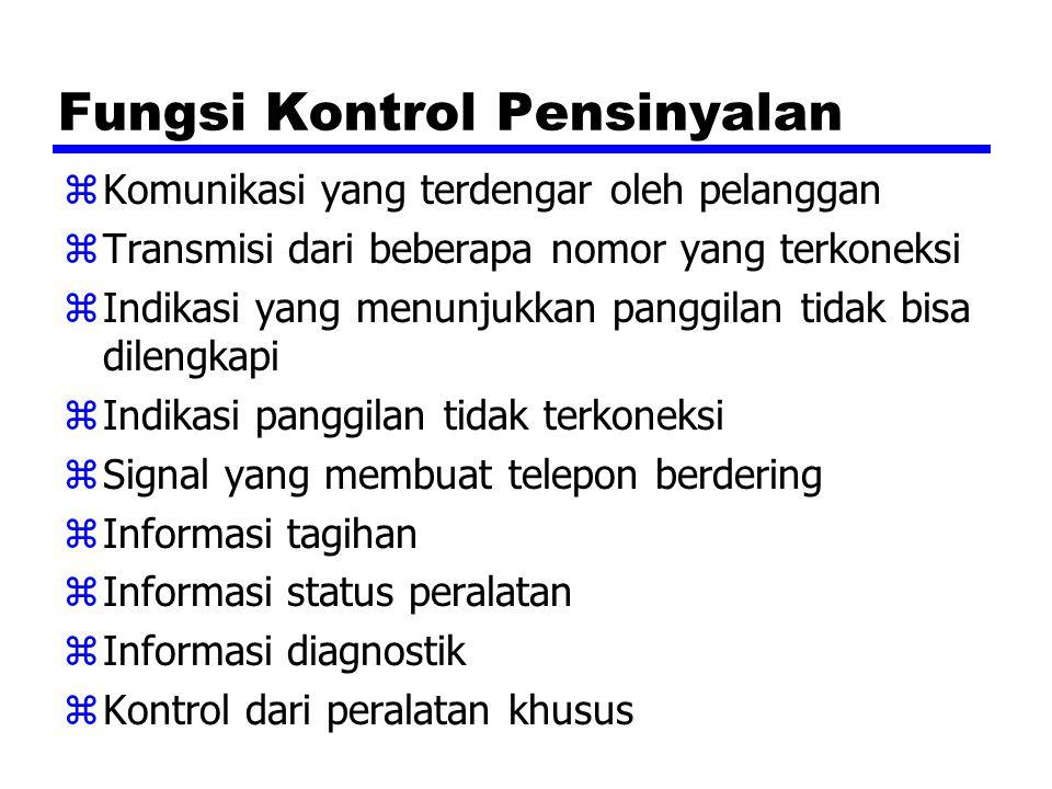 Fungsi Kontrol Pensinyalan zKomunikasi yang terdengar oleh pelanggan zTransmisi dari beberapa nomor yang terkoneksi zIndikasi yang menunjukkan panggil