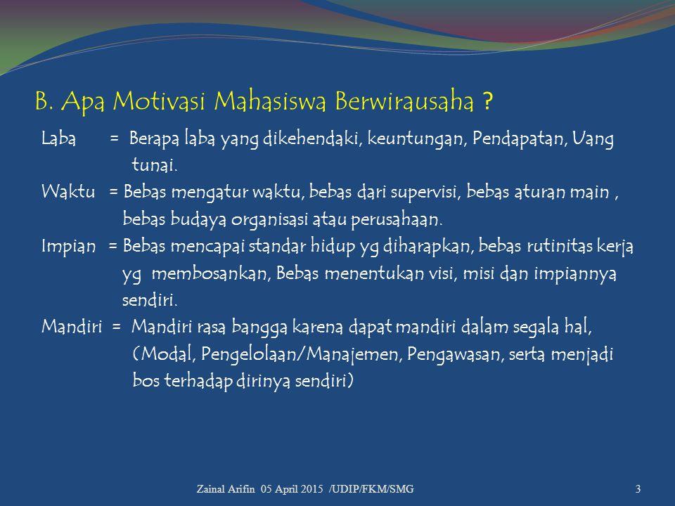 B. Apa Motivasi Mahasiswa Berwirausaha ? Laba = Berapa laba yang dikehendaki, keuntungan, Pendapatan, Uang tunai. Waktu = Bebas mengatur waktu, bebas
