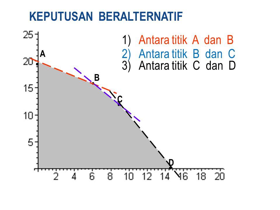 A B C D KEPUTUSAN BERALTERNATIF 1) Antara titik A dan B 2) Antara titik B dan C 3) Antara titik C dan D