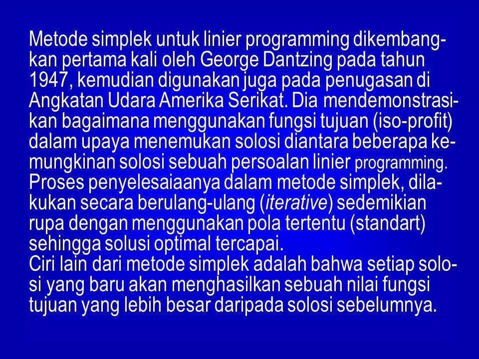 Metode simplek untuk linier programming dikembang- kan pertama kali oleh George Dantzing pada tahun 1947, kemudian digunakan juga pada penugasan di An