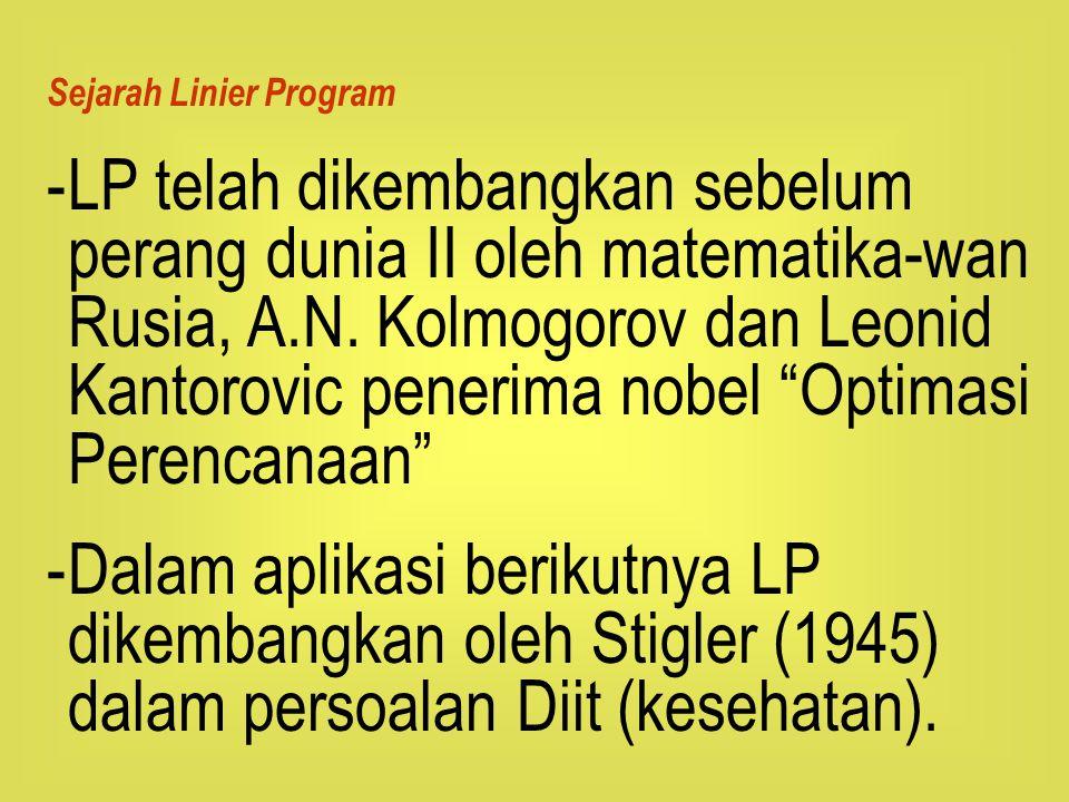 Sejarah Linier Program -LP telah dikembangkan sebelum perang dunia II oleh matematika-wan Rusia, A.N. Kolmogorov dan Leonid Kantorovic penerima nobel