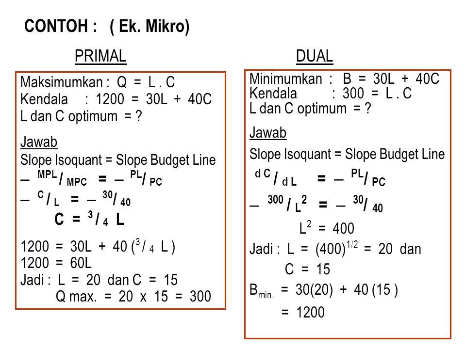 CONTOH : ( Ek. Mikro) Maksimumkan : Q = L. C Kendala : 1200 = 30L + 40C L dan C optimum = ? Jawab Slope Isoquant = Slope Budget Line  MPL / MPC =  P