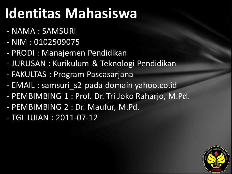 Identitas Mahasiswa - NAMA : SAMSURI - NIM : 0102509075 - PRODI : Manajemen Pendidikan - JURUSAN : Kurikulum & Teknologi Pendidikan - FAKULTAS : Progr