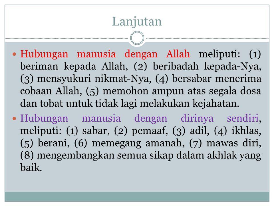 Hubungan manusia dengan sesama, meliputi: (1) tolong menolong, (2) suka memaafkan kesalahan orang lain, (3) menepati janji, (4) lapang dada, (5) menegakkan keadilan dan berlaku adil terhadap diri sendiri dan orang lain.