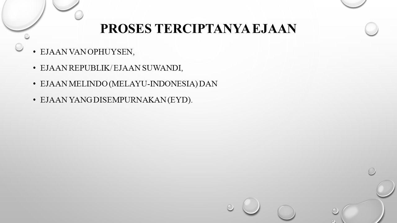 PROSES TERCIPTANYA EJAAN EJAAN VAN OPHUYSEN, EJAAN REPUBLIK/ EJAAN SUWANDI, EJAAN MELINDO (MELAYU-INDONESIA) DAN EJAAN YANG DISEMPURNAKAN (EYD).