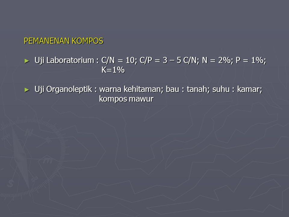 PEMANENAN KOMPOS ► Uji Laboratorium : C/N = 10; C/P = 3 – 5 C/N; N = 2%; P = 1%; K=1% K=1% ► Uji Organoleptik : warna kehitaman; bau : tanah; suhu : kamar; kompos mawur kompos mawur