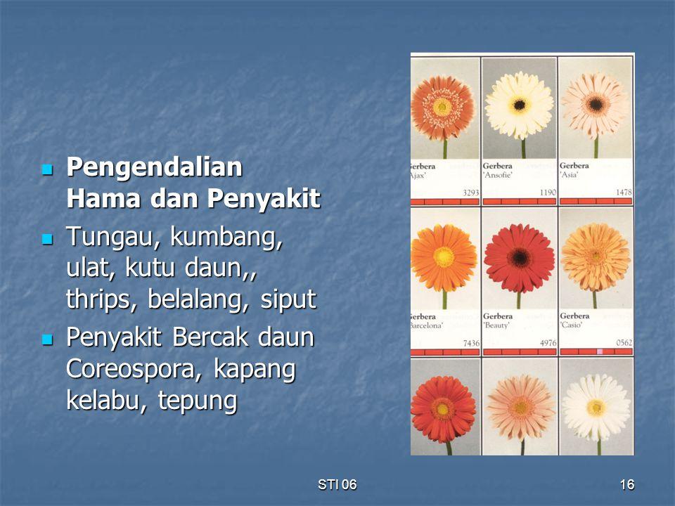 STI 0616 Pengendalian Hama dan Penyakit Pengendalian Hama dan Penyakit Tungau, kumbang, ulat, kutu daun,, thrips, belalang, siput Tungau, kumbang, ula
