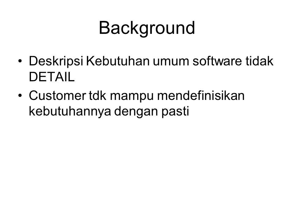 Background Deskripsi Kebutuhan umum software tidak DETAIL Customer tdk mampu mendefinisikan kebutuhannya dengan pasti