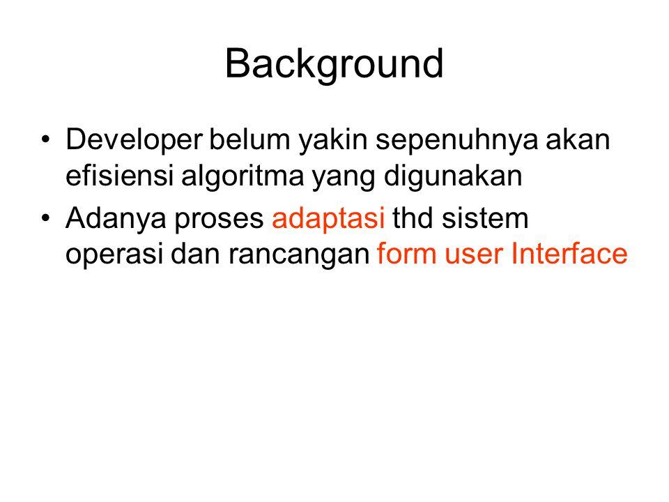 Background Developer belum yakin sepenuhnya akan efisiensi algoritma yang digunakan Adanya proses adaptasi thd sistem operasi dan rancangan form user