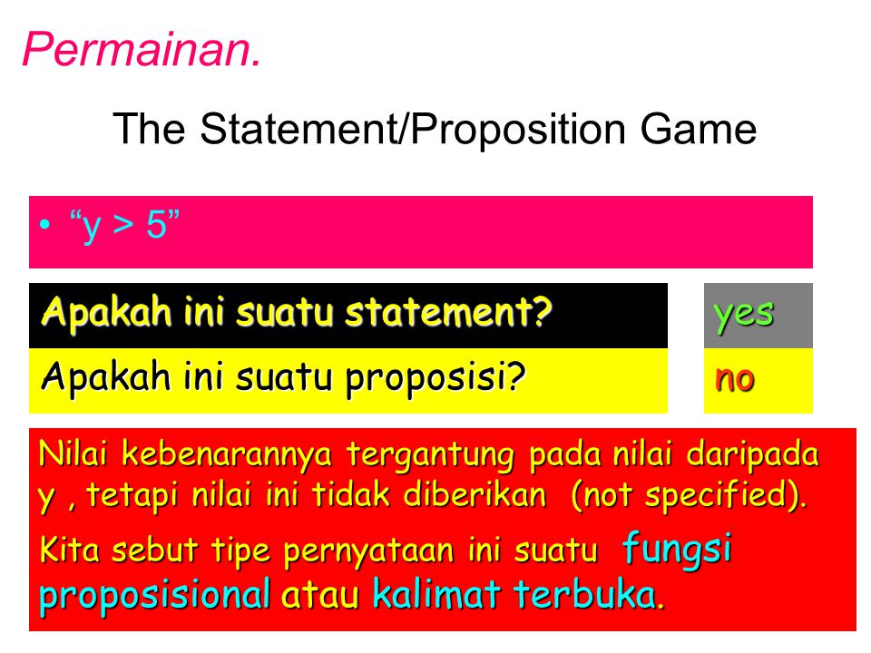 The Statement/Proposition Game y > 5 Apakah ini suatu statement.