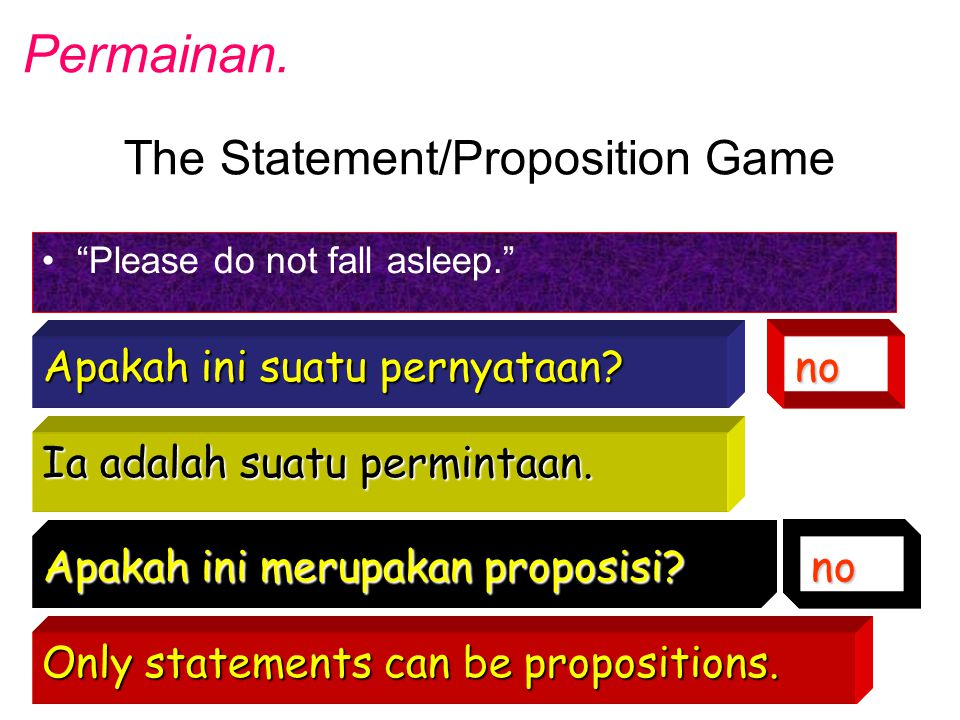 The Statement/Proposition Game Please do not fall asleep. Apakah ini suatu pernyataan.