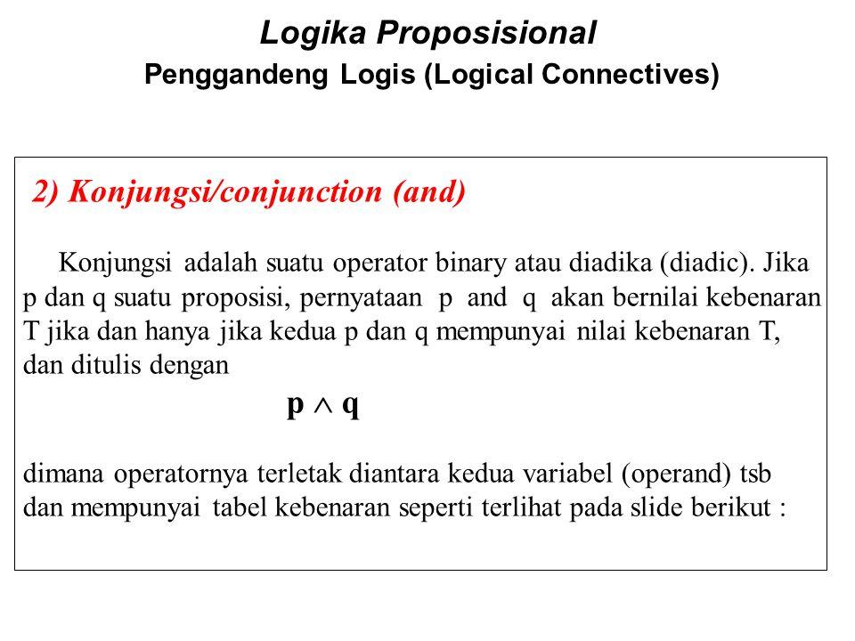 Logika Proposisional Penggandeng Logis (Logical Connectives) 2) Konjungsi/conjunction (and) Konjungsi adalah suatu operator binary atau diadika (diadi