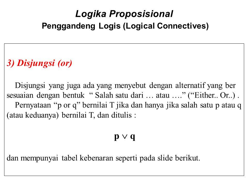 Logika Proposisional Penggandeng Logis (Logical Connectives) 3) Disjungsi (or) Disjungsi yang juga ada yang menyebut dengan alternatif yang ber sesuai