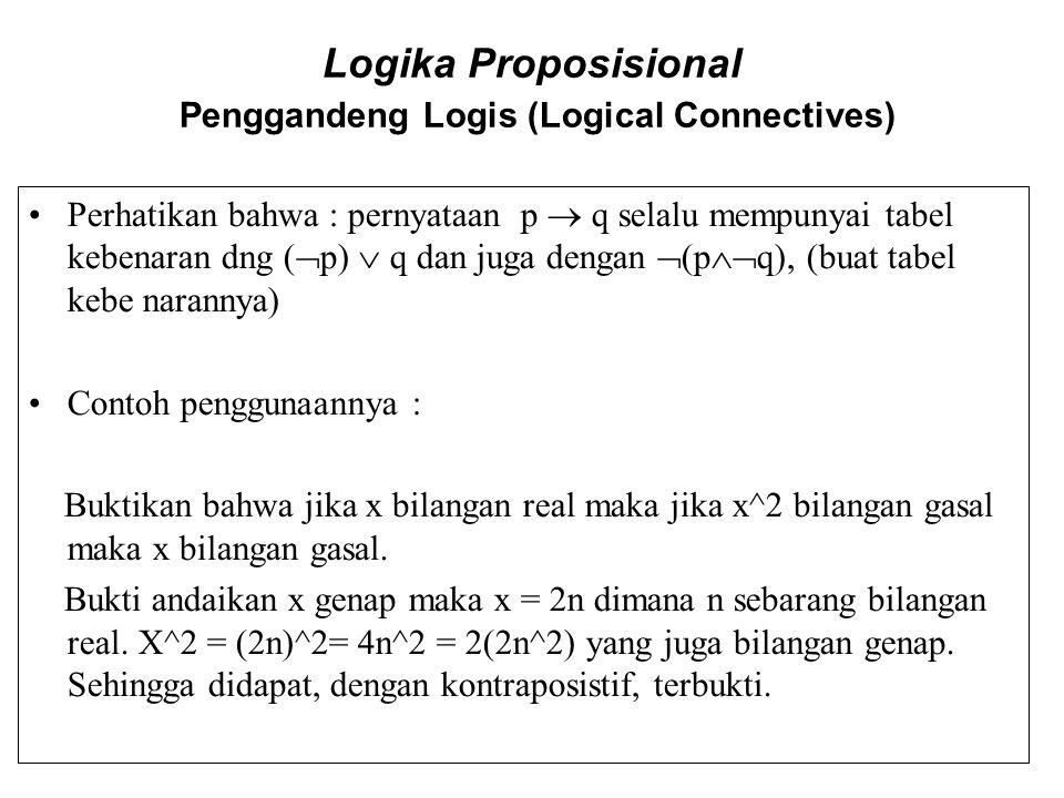 Logika Proposisional Penggandeng Logis (Logical Connectives) Perhatikan bahwa : pernyataan p  q selalu mempunyai tabel kebenaran dng (  p)  q dan j