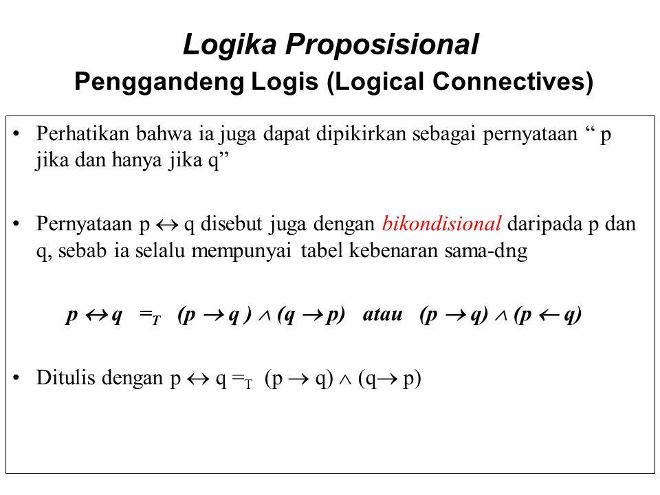 """Logika Proposisional Penggandeng Logis (Logical Connectives) Perhatikan bahwa ia juga dapat dipikirkan sebagai pernyataan """" p jika dan hanya jika q"""" P"""
