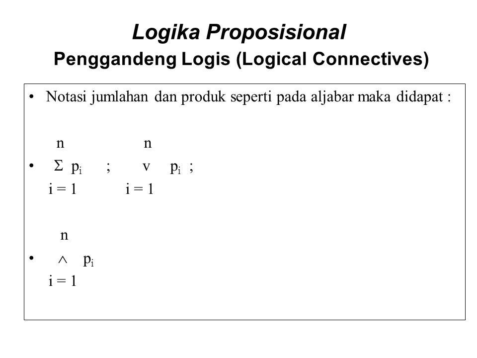 Logika Proposisional Penggandeng Logis (Logical Connectives) Notasi jumlahan dan produk seperti pada aljabar maka didapat : n n  p i ; v p i ; i = 1