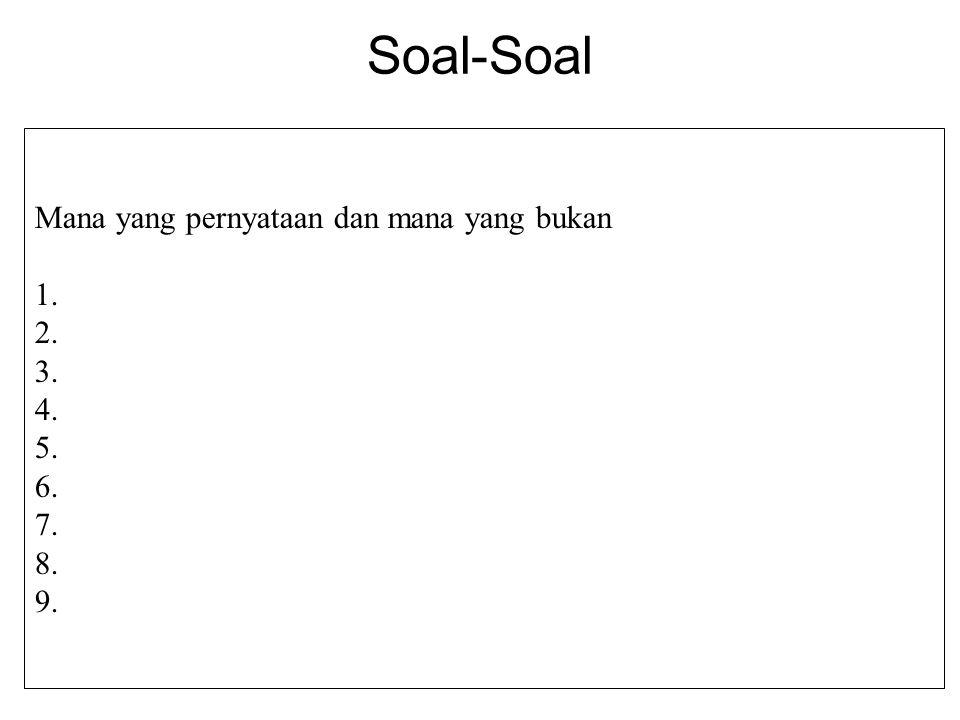 Soal-Soal Mana yang pernyataan dan mana yang bukan 1.Ngawi adalah ibukota propinsi Jawa Timur. 2.Dilarang merokok 3.119 adalah bilangan bulat 4.Buka p