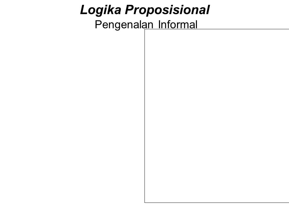 Logika Proposisional Pengenalan Informal Andaikan p dan q variabel yang menyajikan proposisi logis. Mereka menyajikan pernyataan seperti misalnya : 1.