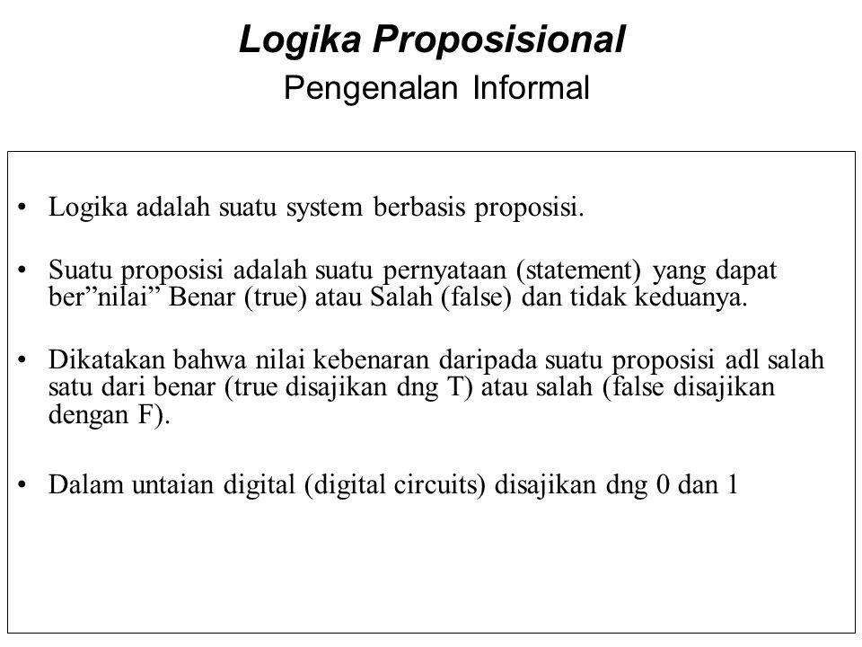 Logika Proposisional Pengenalan Informal Logika adalah suatu system berbasis proposisi. Suatu proposisi adalah suatu pernyataan (statement) yang dapat