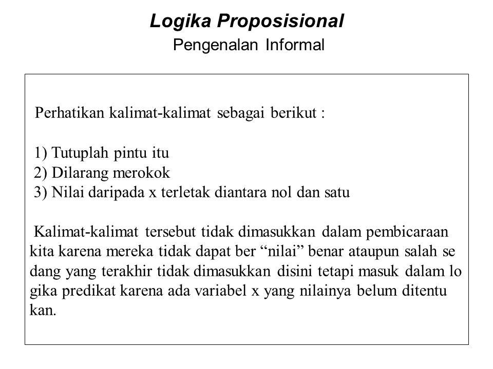 Logika Proposisional Pengenalan Informal Perhatikan kalimat-kalimat sebagai berikut : 1) Tutuplah pintu itu 2) Dilarang merokok 3) Nilai daripada x te