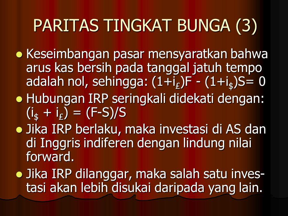 PARITAS TINGKAT BUNGA (2) IRP alternatif dapat diturunkan dengan mengkonstruksi suatu portofolio arbitrasi, yang melibatkan: 1. Tidak ada investasi be